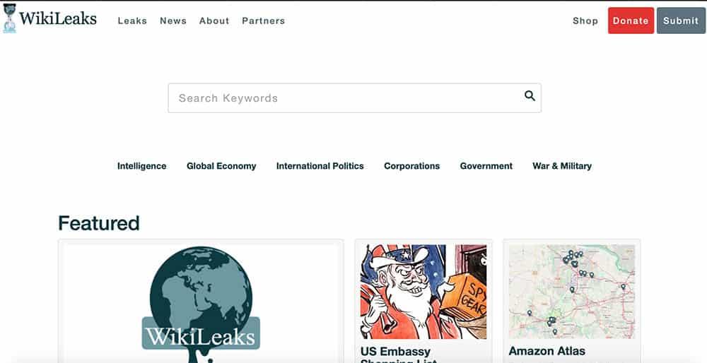 Capture d'écran du site Wikileaks