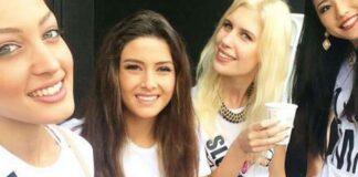 Le selfieà l'origine de la polémique avec Miss Liban Sally Jreige et Miss Israël, .