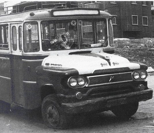The famous bus in which the Palestinians traveled through the neighborhood of Ein Remmaneh