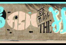 """Graffiti sur l'autoroute en allant vers le centre-ville de Beyrouth. """"Seuls les poissons morts suivent le courant"""". Crédit Photo : Marie-Josée Rizkallah"""