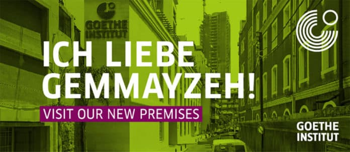 L'affiche pour les nouveaux locaux de l'Institut Goethe au Liban