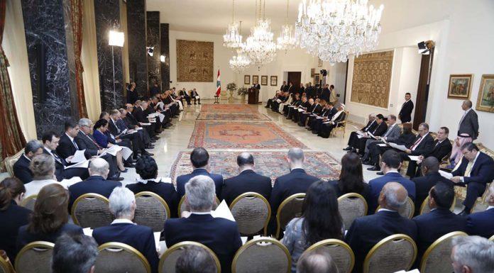 Source Photo: Dalati & Nohra, Le Président de la République Michel Aoun recevant le corps diplomatique, le 16 janvier 2018
