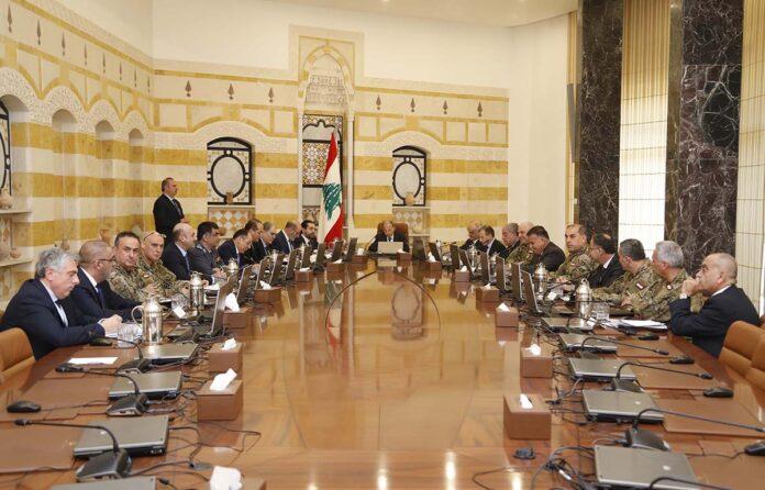 Le Haut Conseil de Sécurité, réuni le 7 février 2018 à Baabda. Crédit Photo: Dalati & Nohra