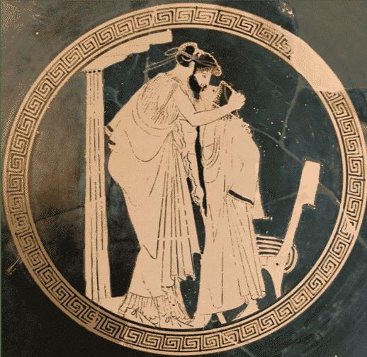 """Figure 4 : """" Éraste """" et """" Éromène """", coupe attique à figures rouges, Ve siècle avant J.-C., musée du Louvre."""
