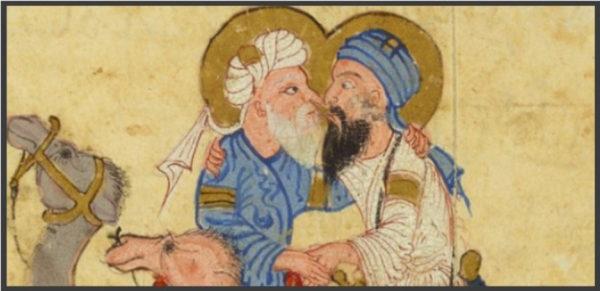 Figure 7 : Peinture coquine de 800 ans avec deux hommes à dos de chameau