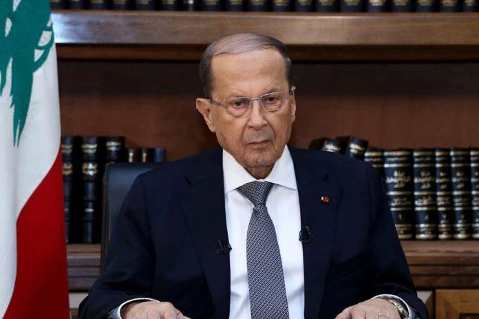 Le chef de l'Etat, le Général Michel Aoun, lors de son allocution télévisée à l'occasion des élections législatives du 6 mai prochain. Crédit Photo: Dalati & Nohra