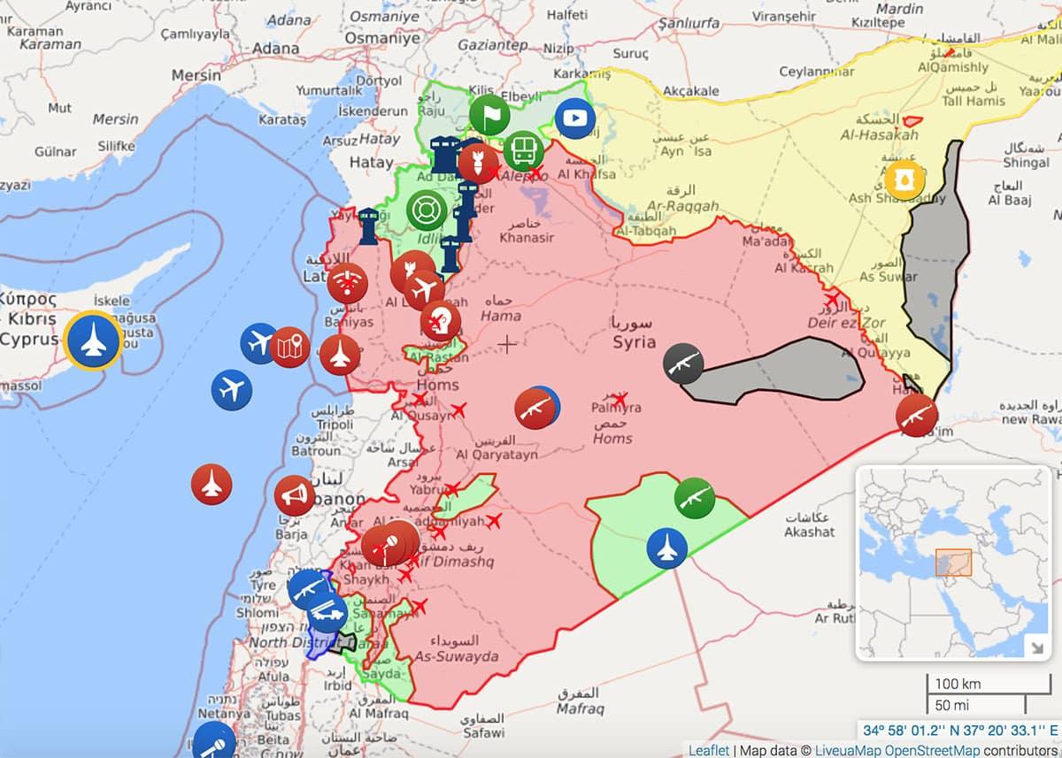 La situation en Syrie au 11 avril 2018. Source: http://syria.liveuamap.com