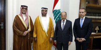 Le Président de la République en compagnie des ambassadeurs d'Egypte, d'Arabie Saoudite et des Emirats Arabes Unis. Crédit Photo: Dalati & Nohra