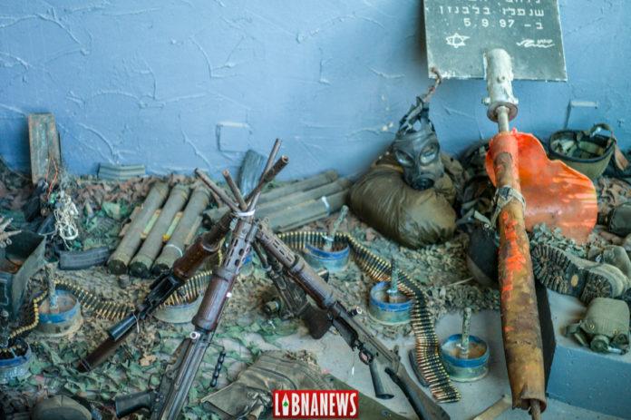 Des armes israéliennes. Musée du Hezbollah à Mlita. Crédit Photo: Libnanews.com