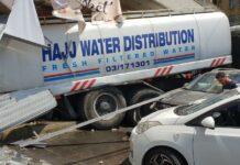 L'accident impliquant un camion surchargé et dont les freins ont lâché ce jeudi 16 aout à Mansourieh. Photo circulant sur les réseaux sociaux. Crédit DR.