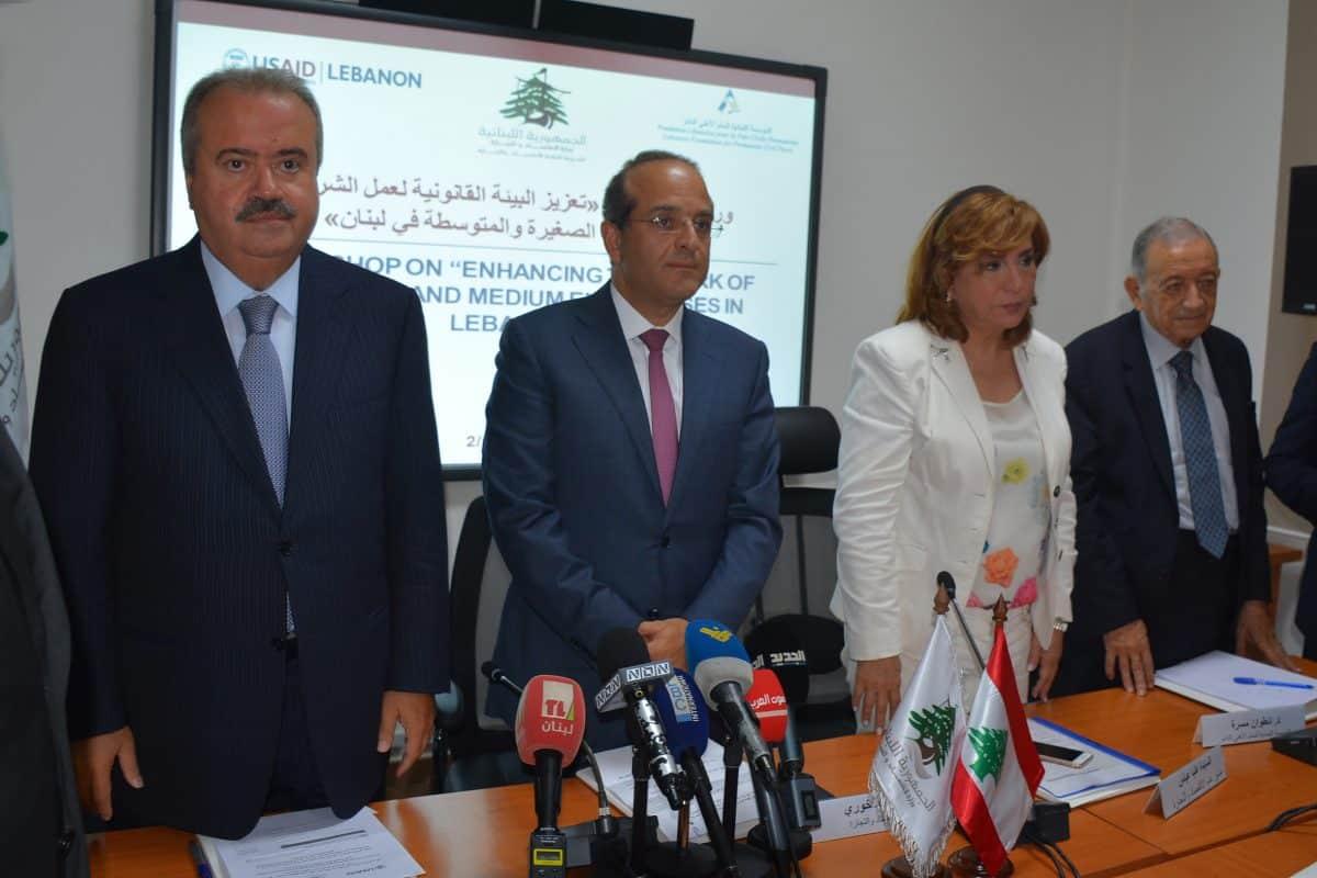 La conférence de presse du Ministre de l'économie par intérim Raed Khoury. Crédit Photo: Dalati & Nohra