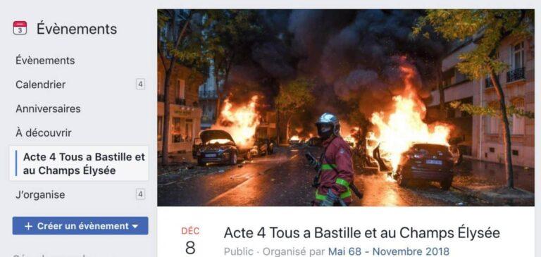 Capture d'écran circulant sur le réseau social Facebook de l'Appel des Gilets Jaunes à l'Acte IV