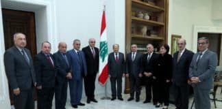 Le Président de la République, le Général Michel Aoun recevant une délégation du Syndicat de la Presse. Crédit Photo: Dalati & Nohra.