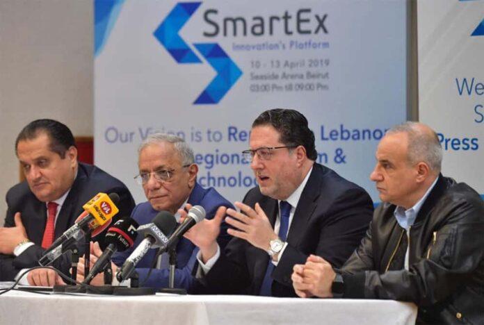 Le Ministre des Télécoms, Mohamed Choucair, s'exprimant au sujet de l'installation d'un réseau de fibres optiques au Liban lors de la conférence SmartEX. Origine photo: Twitter