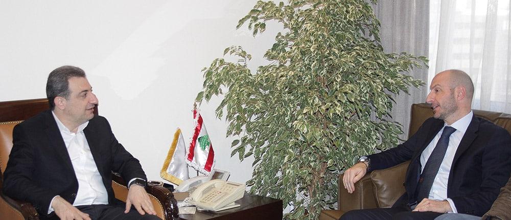 La réunion entre les Ministres de l'Industrie, Waël Abou Faour et de l'Environnement Fadi Jreissati. Crédit Photo: Dalati & Nohra
