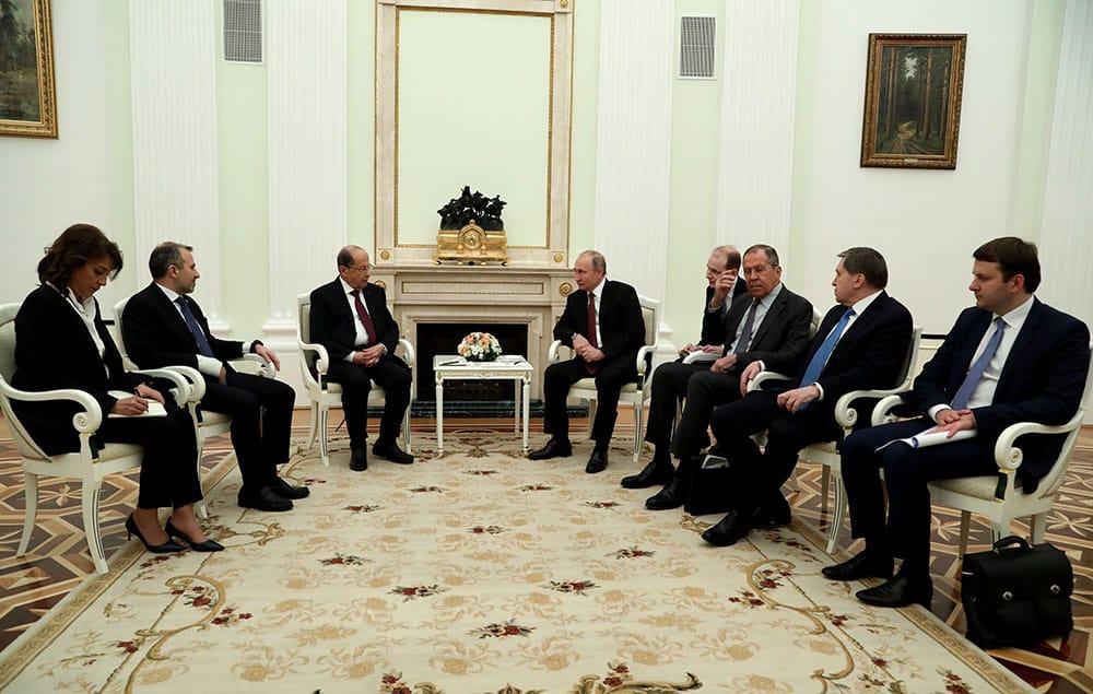 La rencontre entre le Président Libanais Michel Aoun et le Président Russe Vladimir Poutine. Moscou, le 26 mars 2019. Crédit Photo: Dalati & Nohra