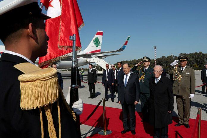 L'arrivée du Président de la République, le Général Michel Aoun, à Tunis, à l'occasion du 30ème des chefs d'états des pays membres de la Ligue Arabe. Crédit Photo: Dalati & Nohra