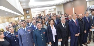 Minister of the Interior Raya Hassan, at a ceremony of homage to the Lebanese civil defense. Photo Credit: Dalati & Nohra