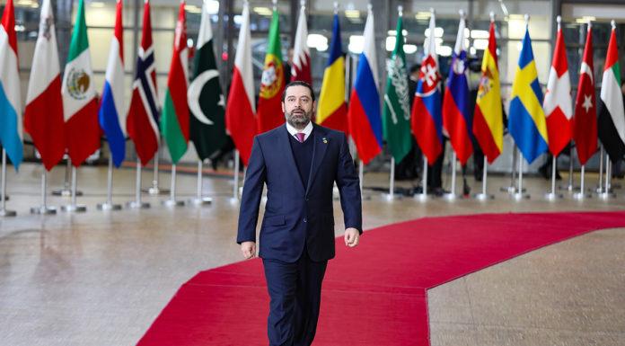 Le Premier Ministre Saad Hariri en déplacement à l'occasion de la Conférence Bruxelles III portant sur le dossier des réfugiés syriens. Crédit Photo: Dalati & Nohra