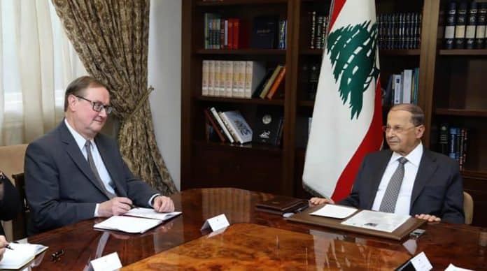 Pierre Duquesne en visite au Palais Présidentiel de Baabda. Crédit Photo: Dalati & Nohra