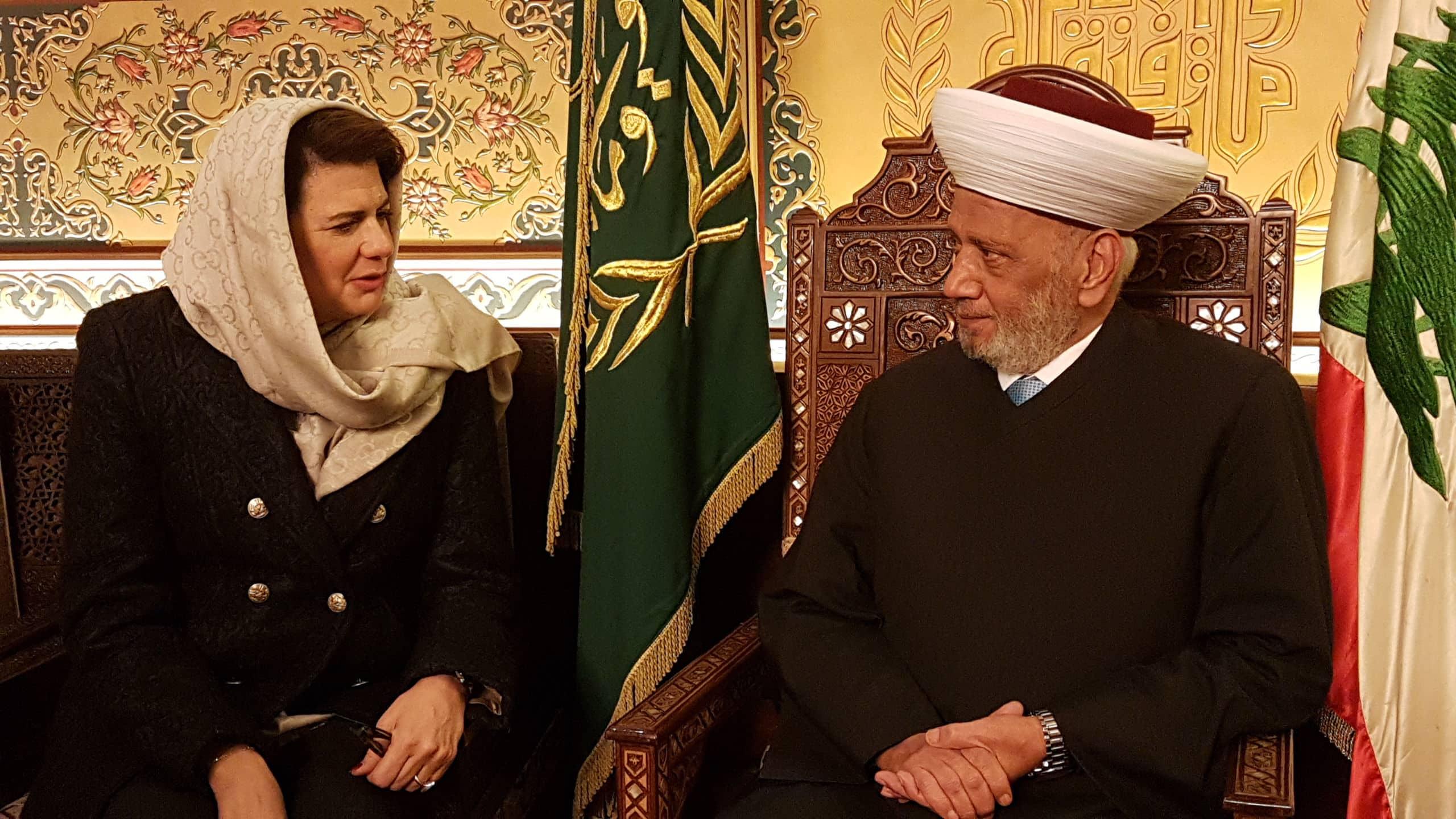 Le Mufti de la République avec la Ministre de l'Intérieur Raya Hassan. Crédit Photo: Dar el Fatwa