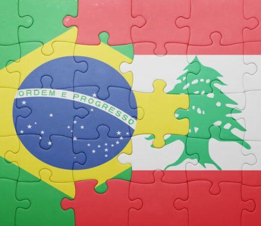 Puzzle avec drapeaux brésiliens et libanais
