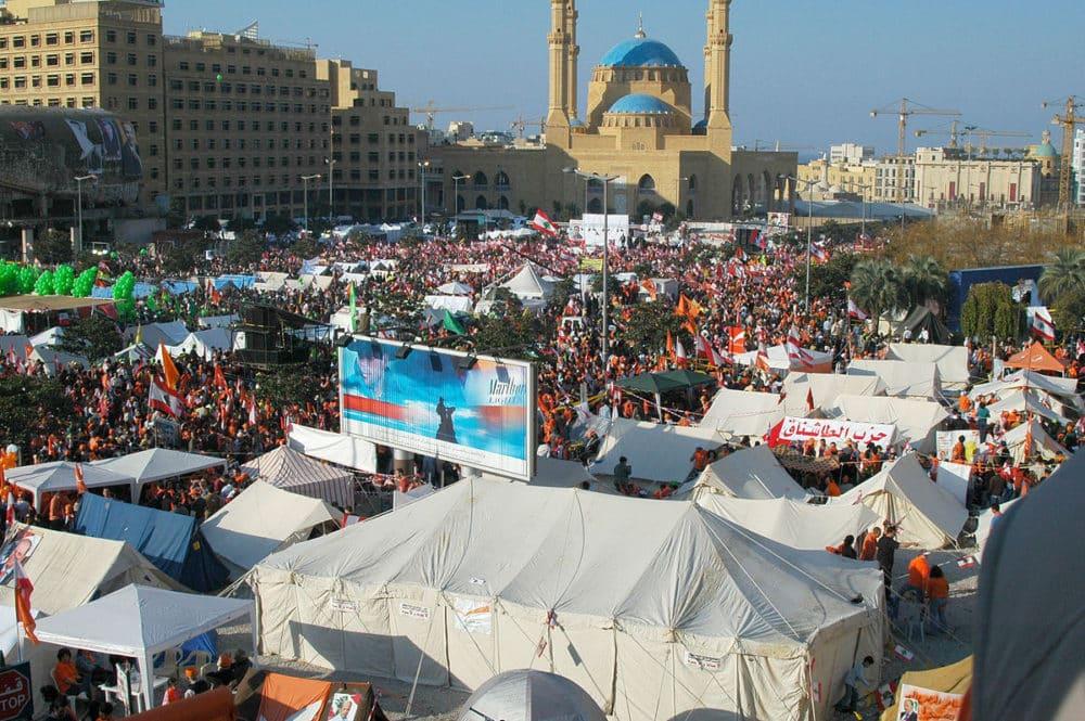 Les manifestations du 10 décembre 2006 contre le gouvernement Saniora. Source Photo: Wikipedia