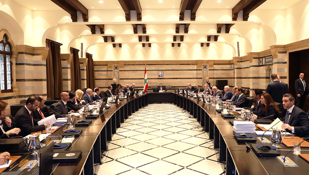 Le conseil des ministres réunis sous la présidence de Saad Hariri, au Grand Sérail, le Jeudi 4 avril 2019. Crédit Photo: Dalati & Nohra