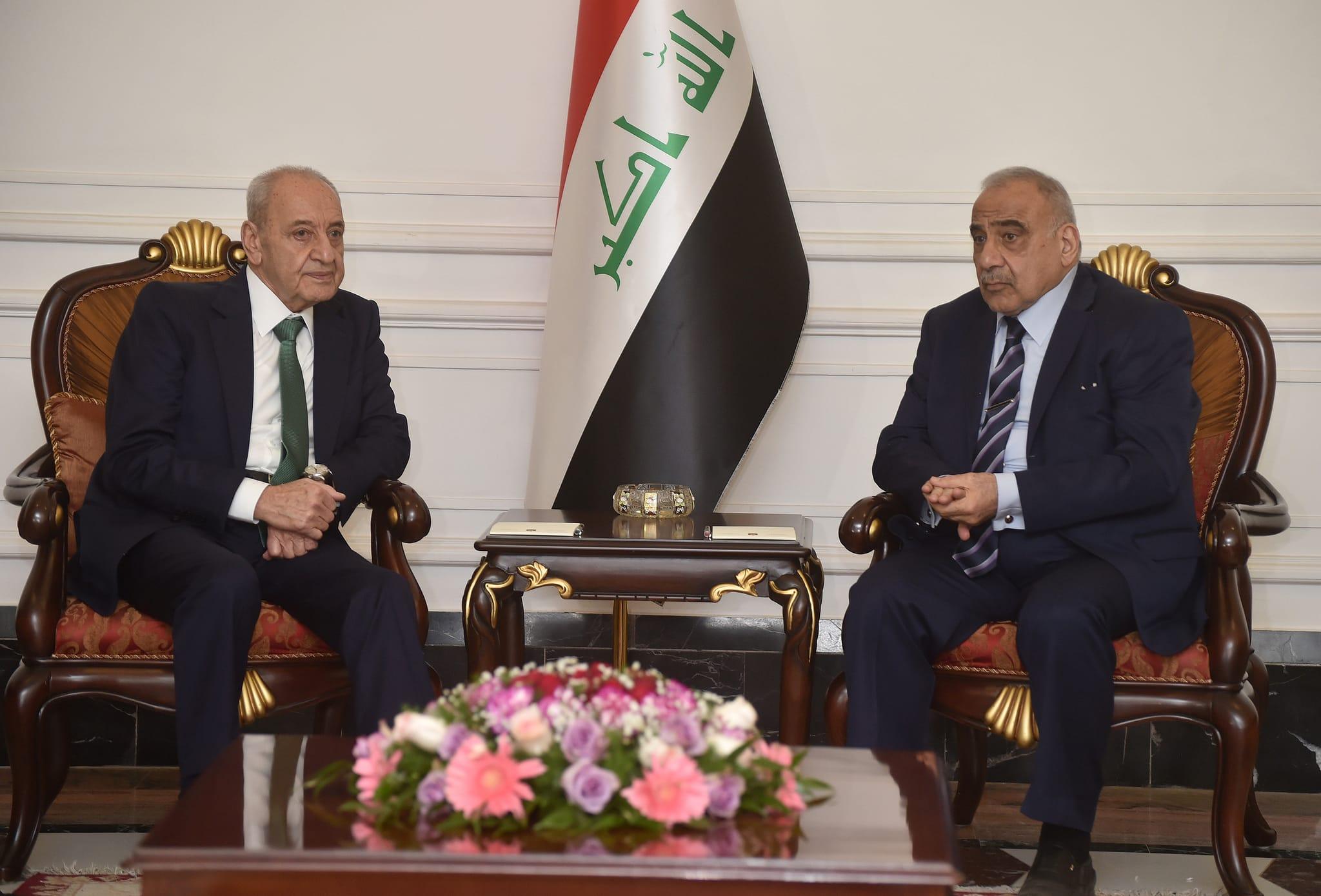 Le Président de la Chambre des députés Nabih Berry avec le Premier Ministre Irakien. Source Photo: Parlement