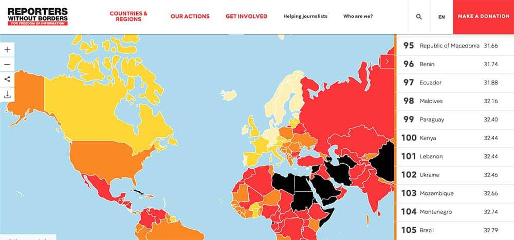 Le classement 2019 de la liberté de la Presse. Le Liban figure au 101 rang mondial. Capture d'écran de l'étude de RSF