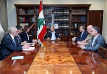 Le Conseil de la Défense réuni au Palais Présidentiel de Baabda. Crédit Photo: Dalati & Nohra