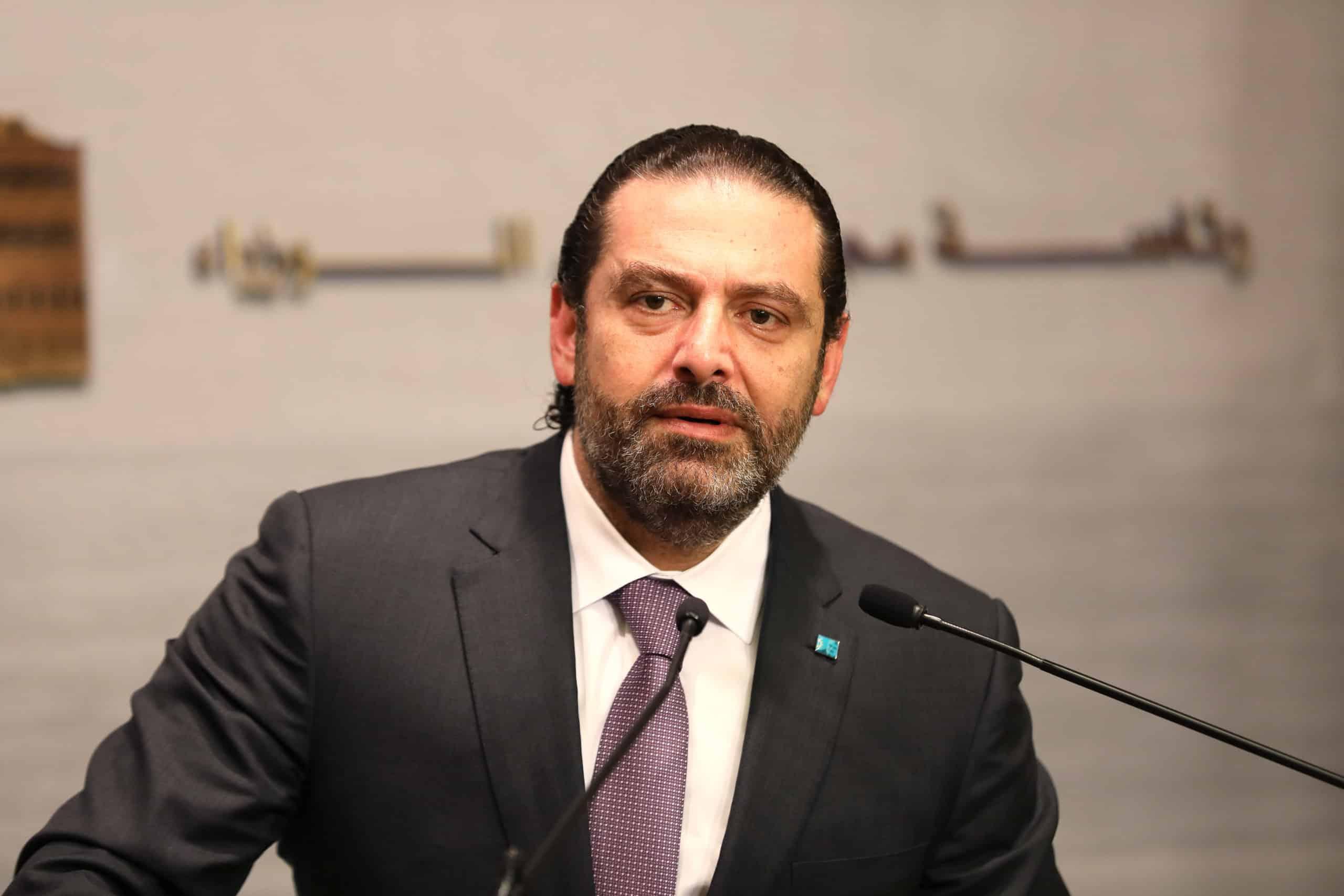 Le Premier Ministre Saad Hariri lors de la conférence de presse annonçant le report du conseil des ministres. Crédit Photo: Dalati & Nohra