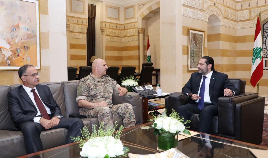 Le Premier Ministre Libanais Saad Hariri recevant une délégation militaire ce lundi 16 aout 2019. Crédit Photo: Dalati & Nohra