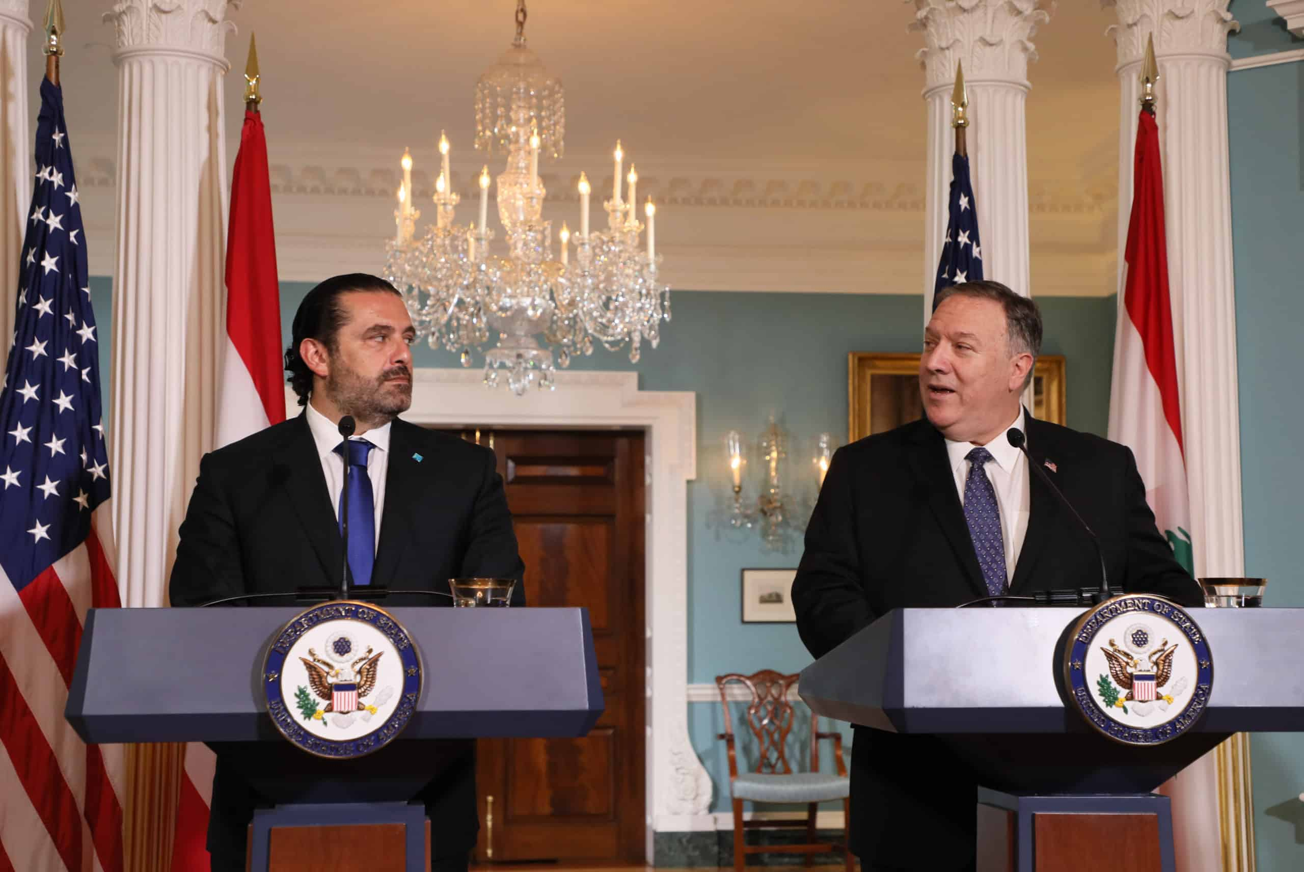 Le Premier Ministre Libanais Saad Hariri et le Secrétaire d'état américain Mike Pompeo, lors de la conférence de presse commune. Source Photo: Dalati & Nohra