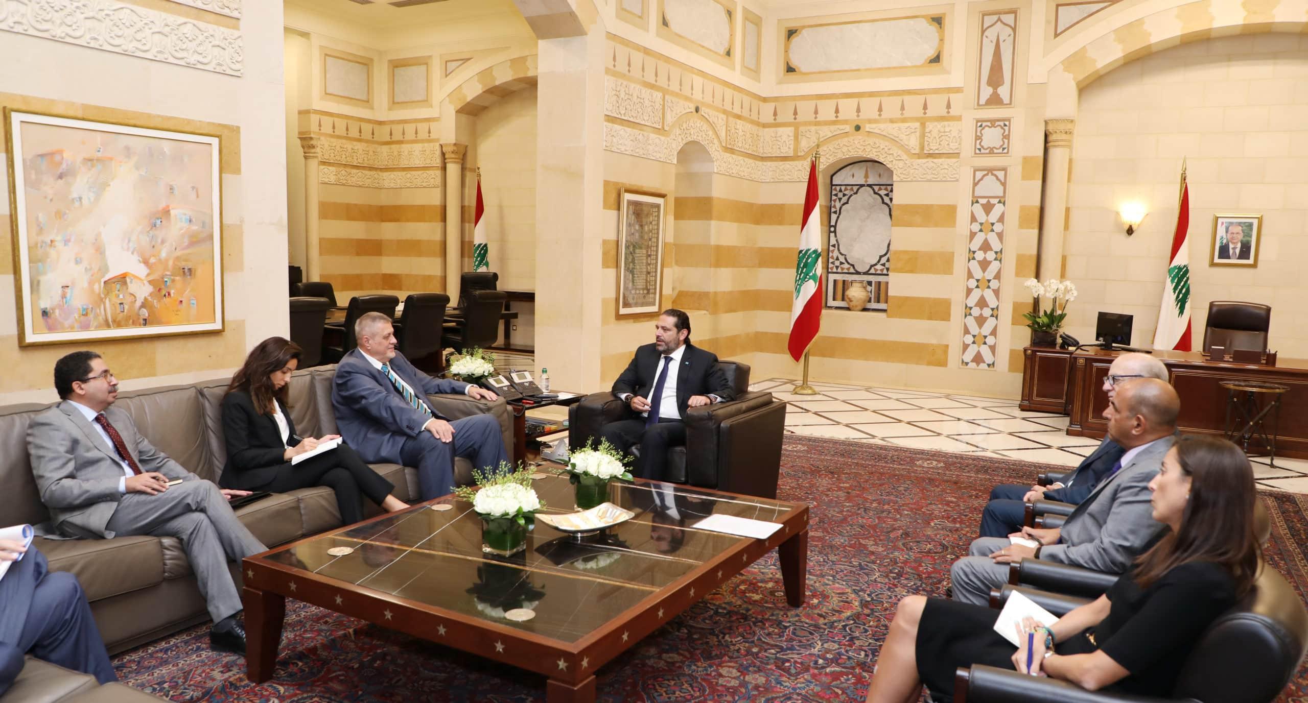 Le Premier Ministre Saad Hariri recevant les ambassadeurs des Pays membres permanents du Cosneil de Sécurité de l'ONU. Crédit Photo: Dalati & Nohra