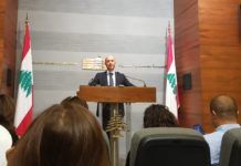 Le Ministre de l'Environnement Fadi Jreissati lors de la Conférence de Presse. Source Photo: Twitter