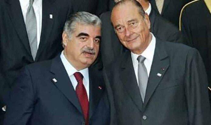 L'ancien Président de la République Jacques Chirac en compagnie de l'ancien premier ministre libanais Rafic Hariri.
