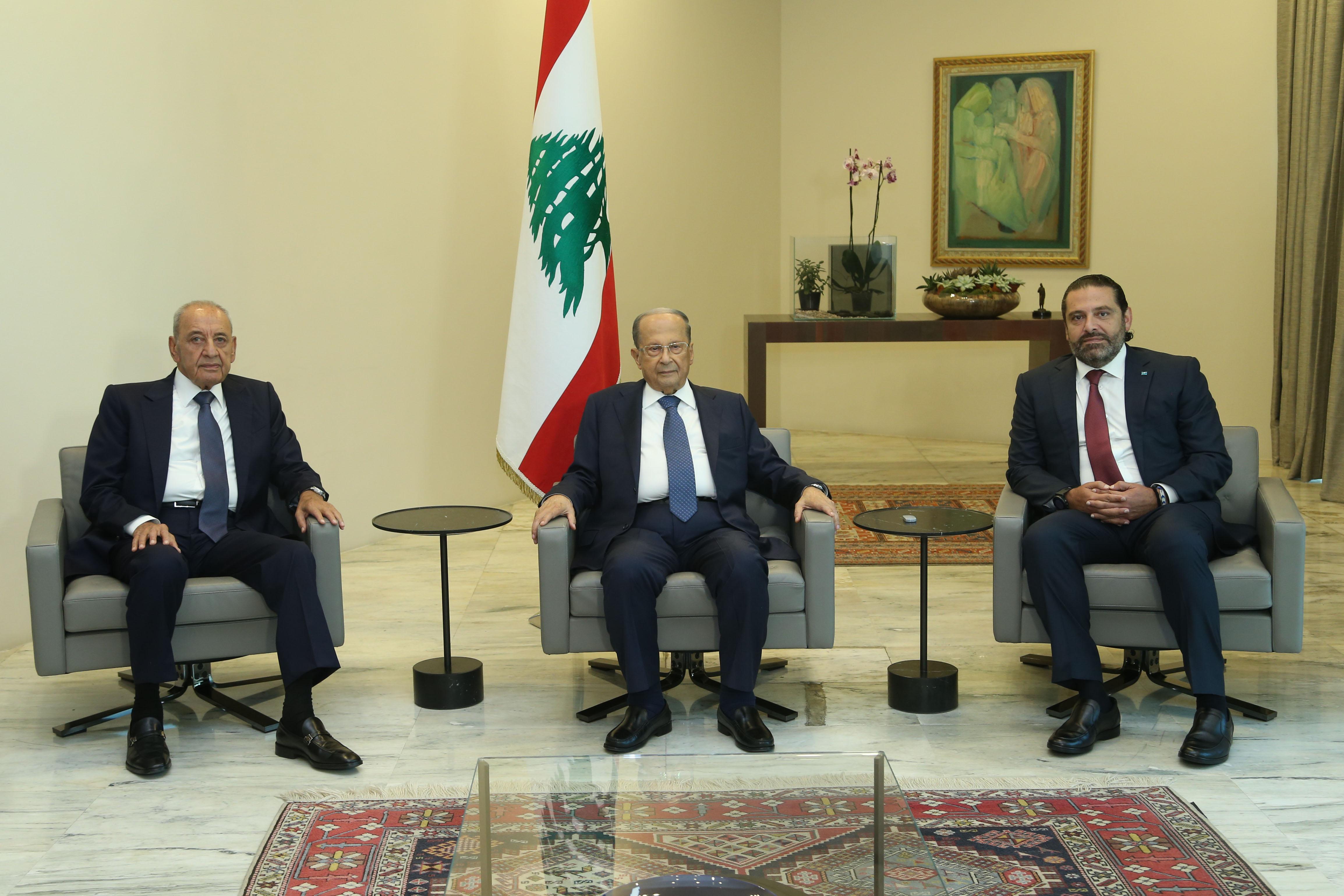 Le Chef de l'Etat, le Général Aoun, avec le Président de la Chambre Nabih Berri et le Premier Ministre Saad Hariri, avant le sommet économique. Lundi 2 septembre 2019. Source Photo: Dalati & Nohra