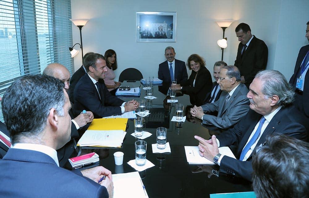 Le Président de la République, le Général Michel Aoun, en compagnie du Président de la République Française, Emmanuel Macron. Crédit Photo: Dalati & Nohra