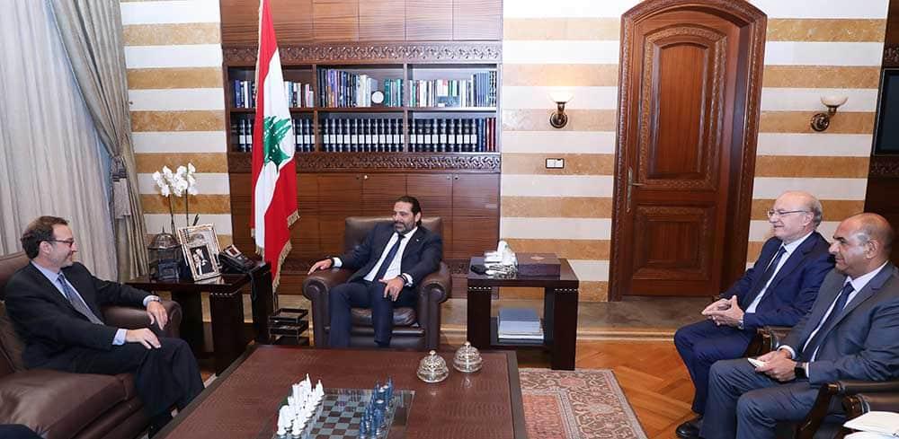 Le Premier Ministre Saad Hariri recevant le médiateur américain David Schenker. Crédit Photo: Dalati & Nohra