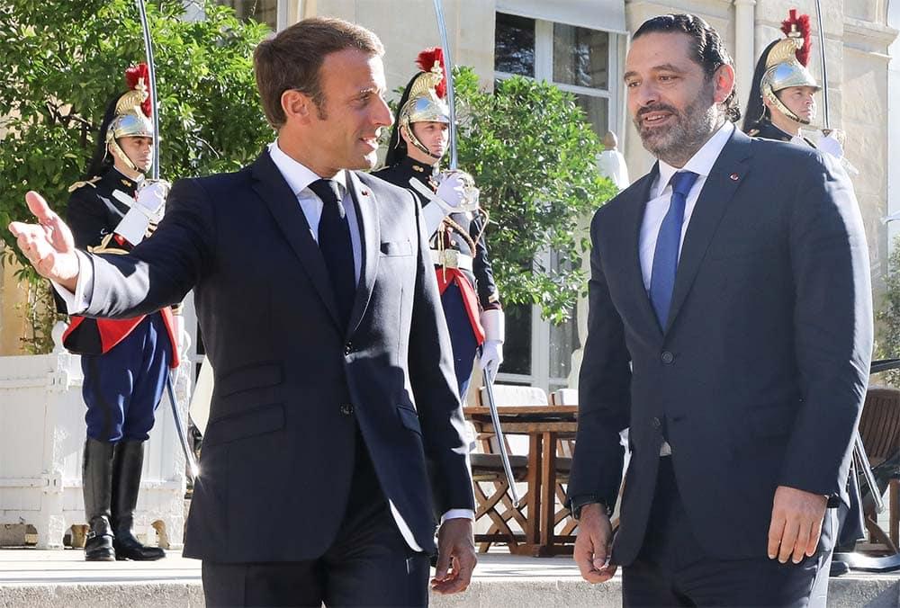 Le Président de la République Française, Emmanuel Macron recevant le Premier Ministre Libanais Saad Hariri. Crédit Photo: Dalati & Nohra