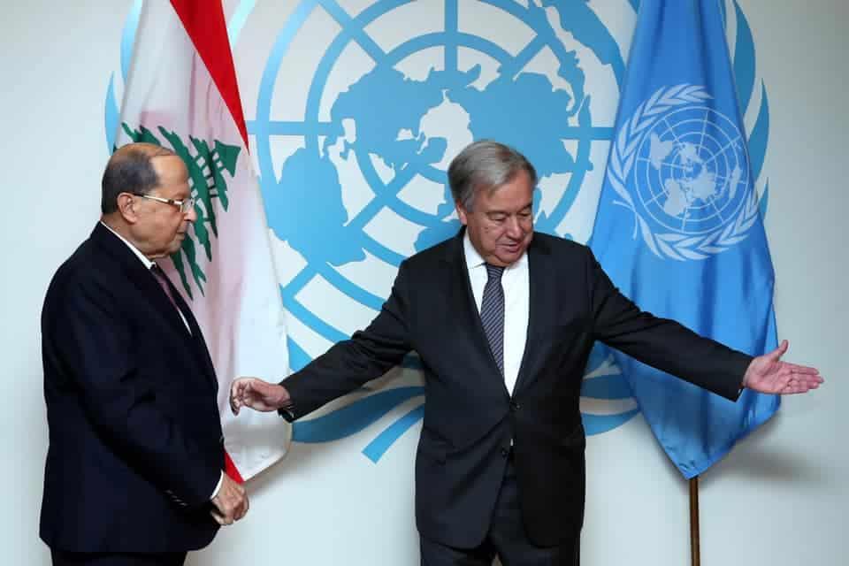Le Président de la République Libanaise, le Général Michel Aoun en compagnie du Secrétaire Général de l'ONU, Antonio Guterres.