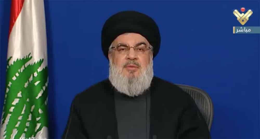 Le dirigeant du Hezbollah, Sayyed Hassan Nasrallah. Capture d'écran d'Al Manar