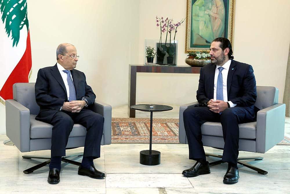 Le Président de la République, le Général Michel Aoun, Avec le Premier Ministre Saad Hariri. Source Photo: Dalati & Nohra