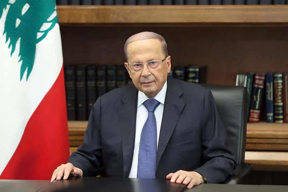 L'allocution du Président de la République, le Général Michel Aoun qui s'adresse à la population libanaise suite aux manifestions qui se sont étendues depuis le jeudi 17 octobre à l'ensemble du Liban. Crédit Photo: Dalati & Nohra