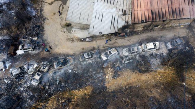 Vue aérienne des dégâts de l'Incendie à Damour.