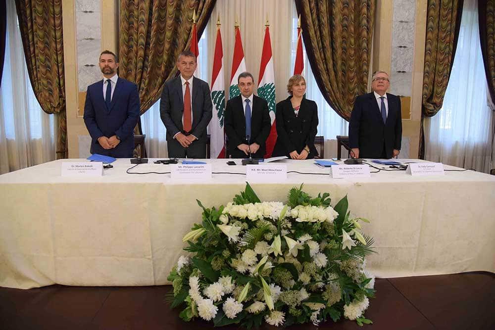 Dr. Marlen Bakalli, Philippe Lazzarini, le ministre Wael Abou Faour, Roberta Di Lecce et Dr. Fadi Gemayel