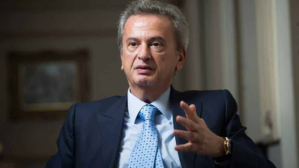 Riad Salameh, governor of Lebanon's central bank, speaks to the Financial Times in his office in Beirut, Lebanon, on October 30, 2017. [Sam Tarling for the Financial Times]