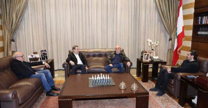 La réunion du mardi 3 décembre entre le Premier Ministre Sortant Saad Hariri et l'ancien député druze Walid Joumblatt. Crédit Photo: Dalati & Nohra