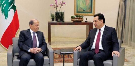La rencontre entre le président de la République, le général Michel Aoun, et le Premier Ministre désigné Hassan Diab, précédant l'annonce de la proclamation du gouvernement Diab. Crédit Photo: Dalati & Nohra